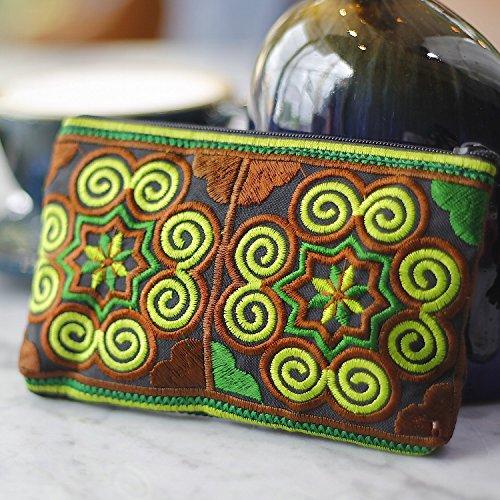 Thai la Jai Portefeuille à Coin Vert Femme main fait Marron Sabai w6YFqBZZ