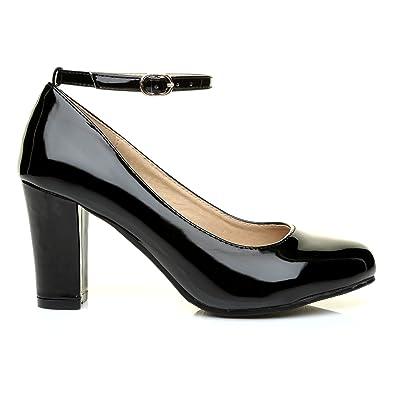ShuWish UK Zara Damen Pumps Schwarz Schwarzer Lack