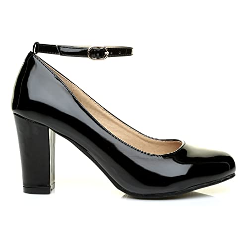 217fda342744 Zara Black Patent Block Heel Ankle Strap Round Toe Court Shoes   Amazon.co.uk  Shoes   Bags