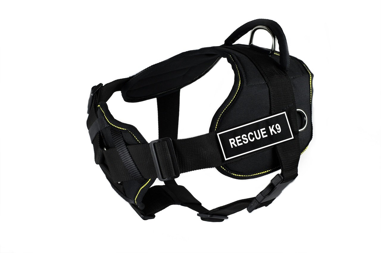 Dean & Tyler Black with Yellow Trim Fun Dog Harness with Padded Chest Piece, Rescue K9, Small, Fits Girth Size 22-Inch to 27-Inch