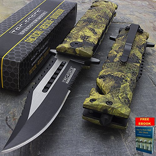 g Assisted Open CAMO TACTICAL FOLDING POCKET KNIFE Sawback Blade GLASS BREAKER + free eBook by Only US ()