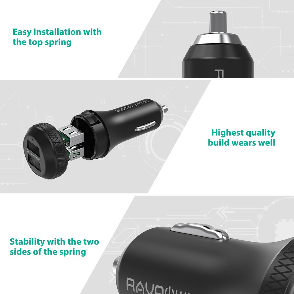Quick Charge 3.0 Car Charger RAVPower 40W 3A Car Adapter with Dual QC USB Ports for Galaxy S9 S8 Plus Note 8 Note 7, iSmart Tech for iPhone X 8 8 Plus, iPad Pro Air Mini, Pixel, Nexus and More by RAVPower (Image #5)