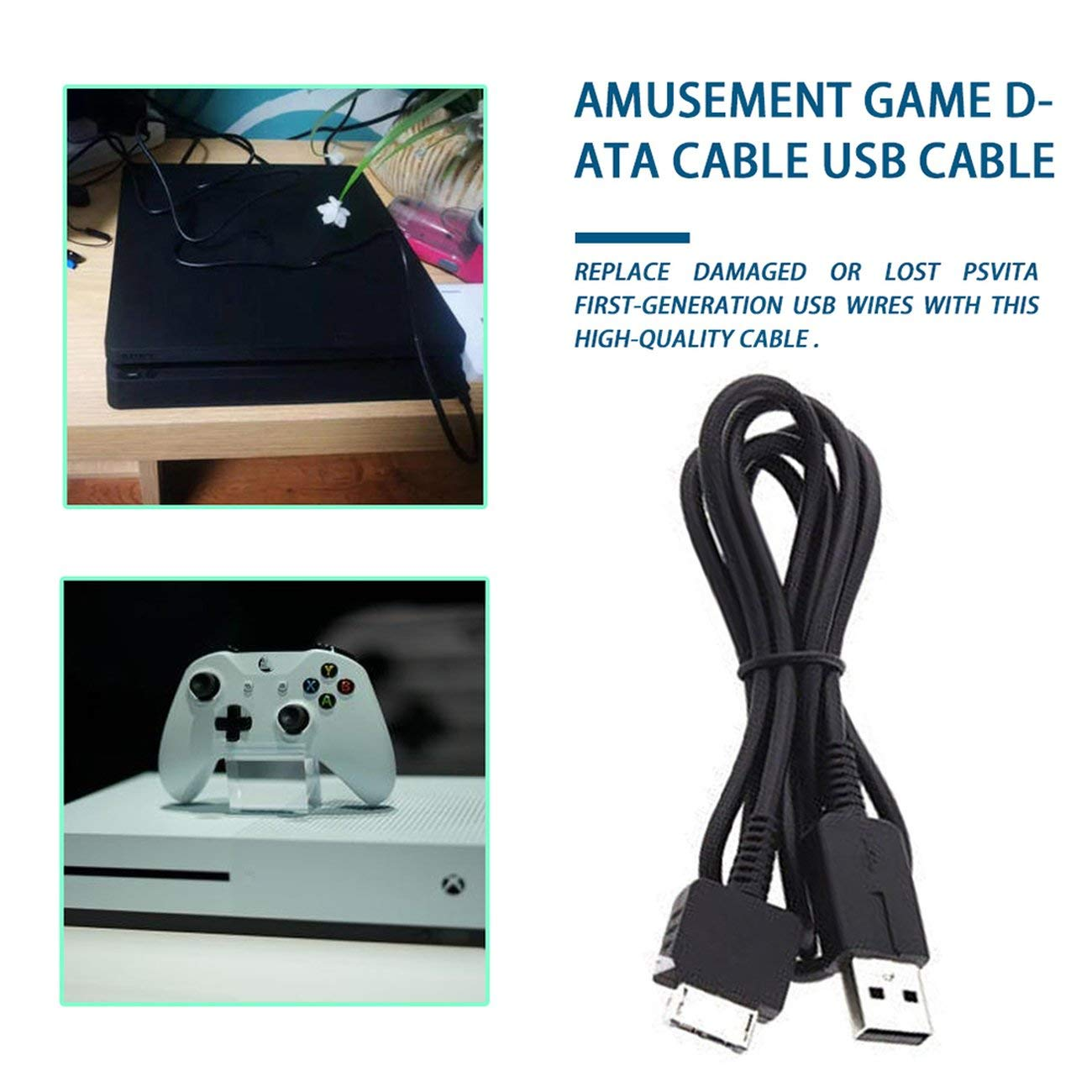 Fannty 2 in 1 USB Charging Lead Charger Cable for Sony Playstation PS Vita