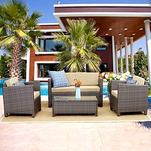(Wisteria Lane Outdoor Patio Furniture Set,5 Piece Conversation Set Rattan Sectional Sofa Couch Loveseat Chair Gray Wicker,Tan Cushions)