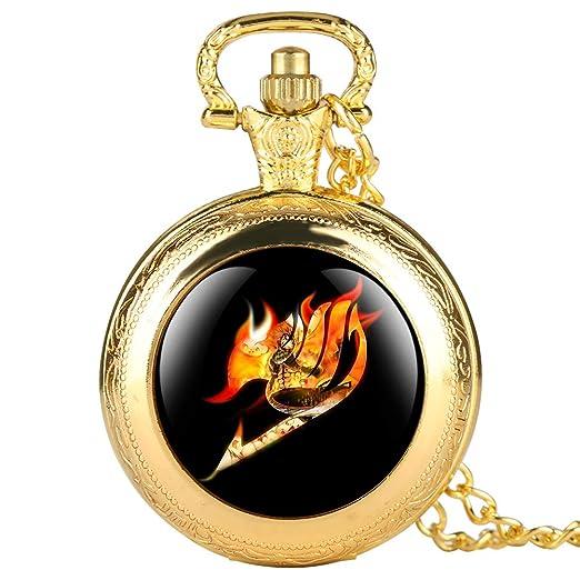Reloj de Bolsillo Dorado con diseño de Hada de Dibujos Animados para niños, Relojes de Bolsillo originalidad para Adolescentes, Relojes de Bolsillo con ...