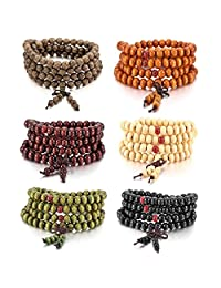 MOWOM 6PCS 8mm Wood Bracelet Wrist Link Necklace Chain Tibetan Buddhist Sandalwood Bead Prayer Buddha Mala Chinese Knot
