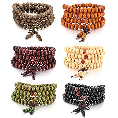 (MOWOM 6PCS 8mm Wood Bracelet Link Wrist Necklace Chain Tibetan Buddhist Sandalwood Bead Prayer Buddha Mala Chinese Knot)