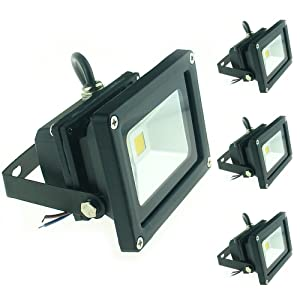 QUANS 10W 12V 24V DC AC LED Flood Light Lamp Floodlight Security Outdoor Waterproof Ultra Bright Black, 4PCS Cool White