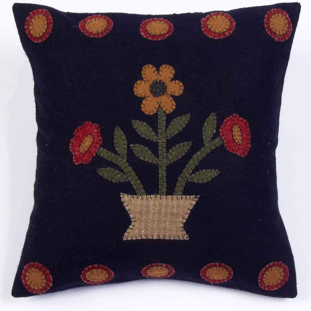"Home Collection by Raghu Blooms Black Pillow, 14"" x 14"""