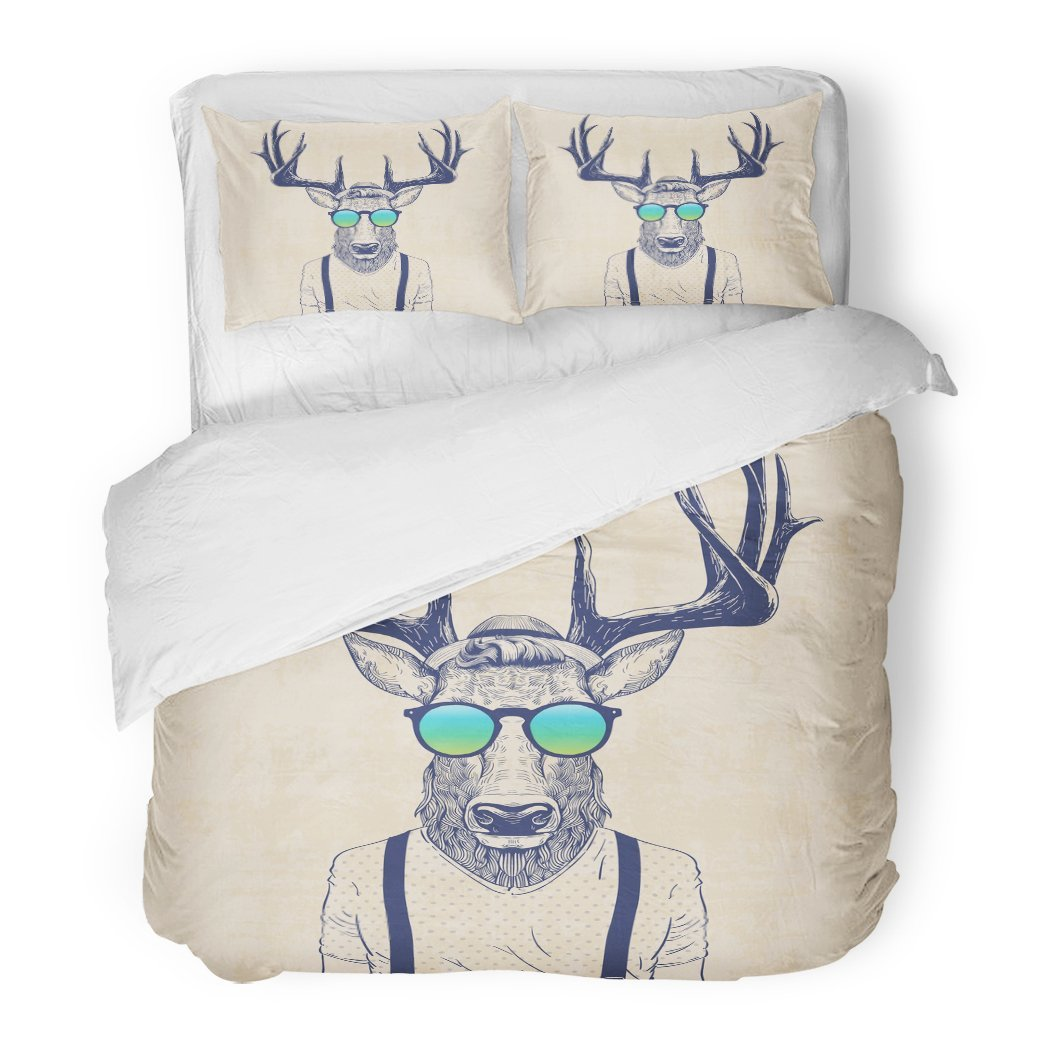 SanChic Duvet Cover Set Animal of Deer Dressed Up Like Cool Hipster Decorative Bedding Set with Pillow Sham Twin Size