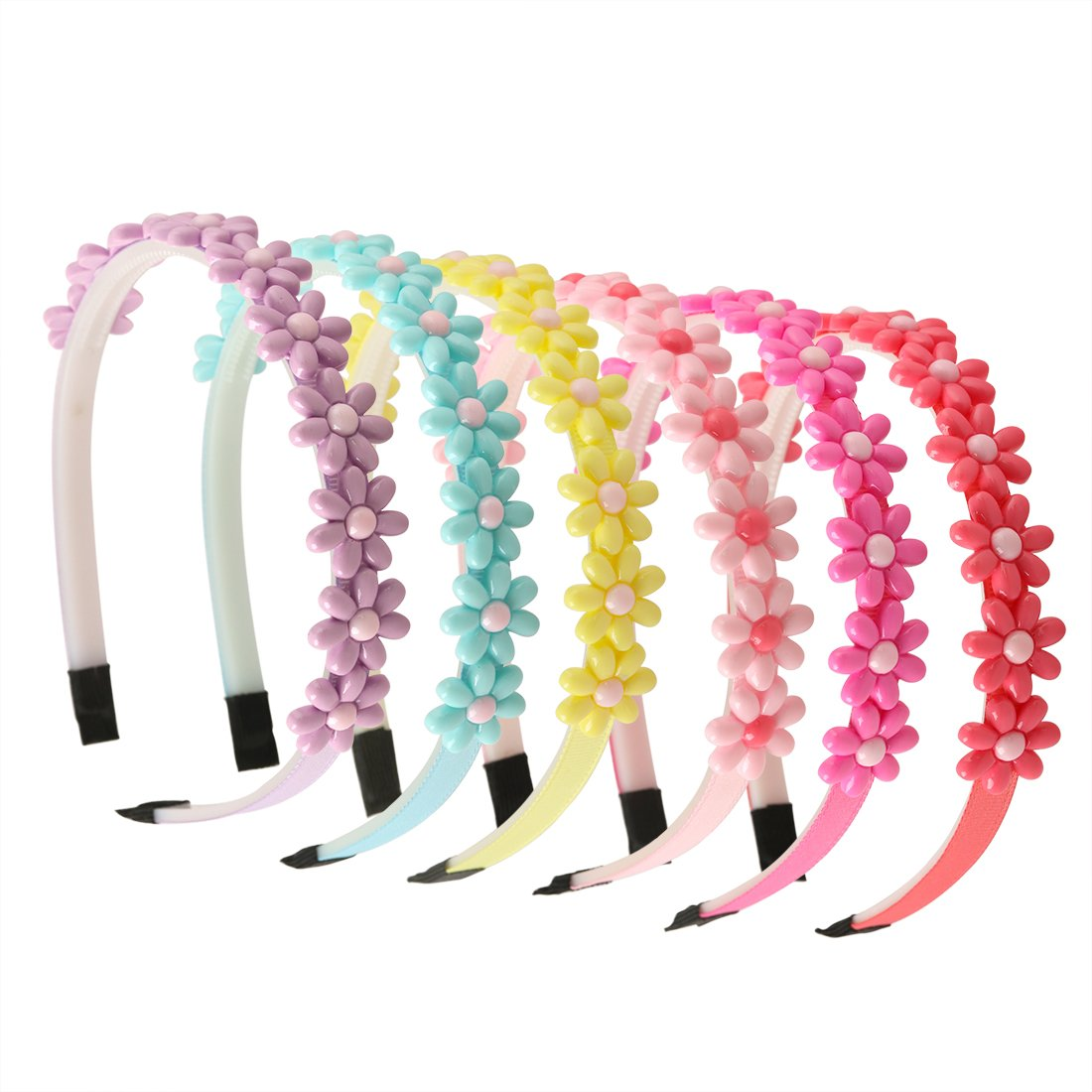 XIMA 6pcs Flower Headband for Girls Teens Kids Gifts Hair Accessories Spring Colors
