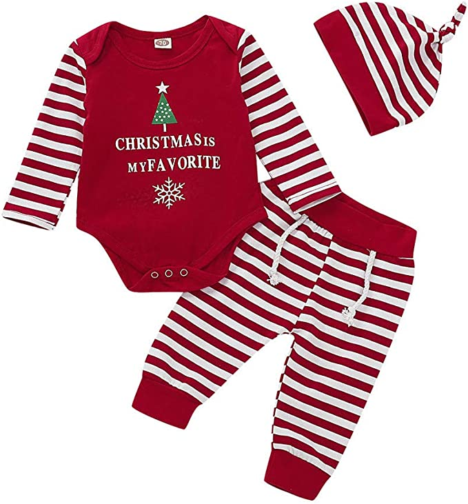 WARMSHOP 2 PC Baby Boys Girls Christmas Clothes Stripe Print Cotton Romper Jumpsuit with Beanie Hat Outfit Set