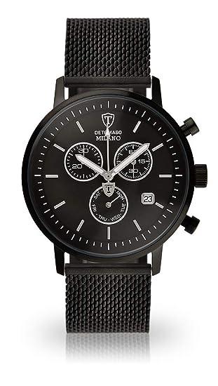 Detomaso MILANO – Reloj de pulsera para hombre con caja de acero inoxidable negro y esfera