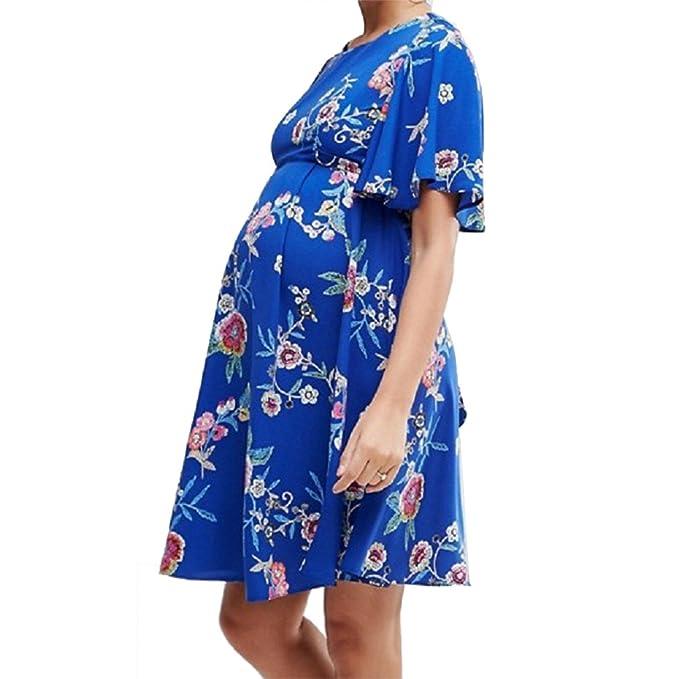 Yying Vestido de Mujer con Cuello Redondo, Vestido de Maternidad Ligero de Manga Corta, Cómodo Vestido Acampanado Transpirable: Amazon.es: Ropa y accesorios