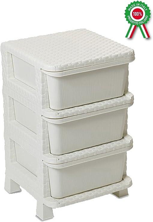 Mueble cajonera 3 cajones de dura plástico de resina blanco crema ...