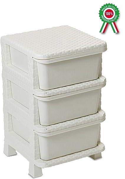 Mueble cajonera 3 cajones de dura plástico de resina blanco ...