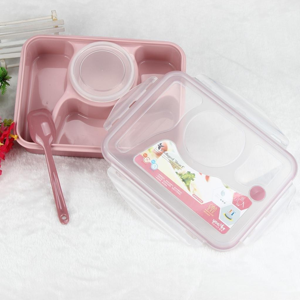 YJYdada Microwave Bento Lunch Box Spoon Utensils Picnic Food Container Storage Box (Pink)