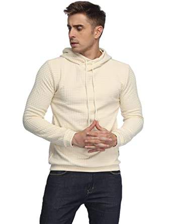 3d132386ea0353 HEQU Men s Casual Funnel Neck Square Pattern Quilted Hoodie Pullover  Sweatshirt Apricot M