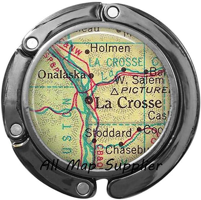 3 Charming Purse Hook La Crosse,Wisconsin map Purse Hook,Lacrosse Purse Hook Lacrosse Bag Hook map Jewelry,map Bag Hook,A0079
