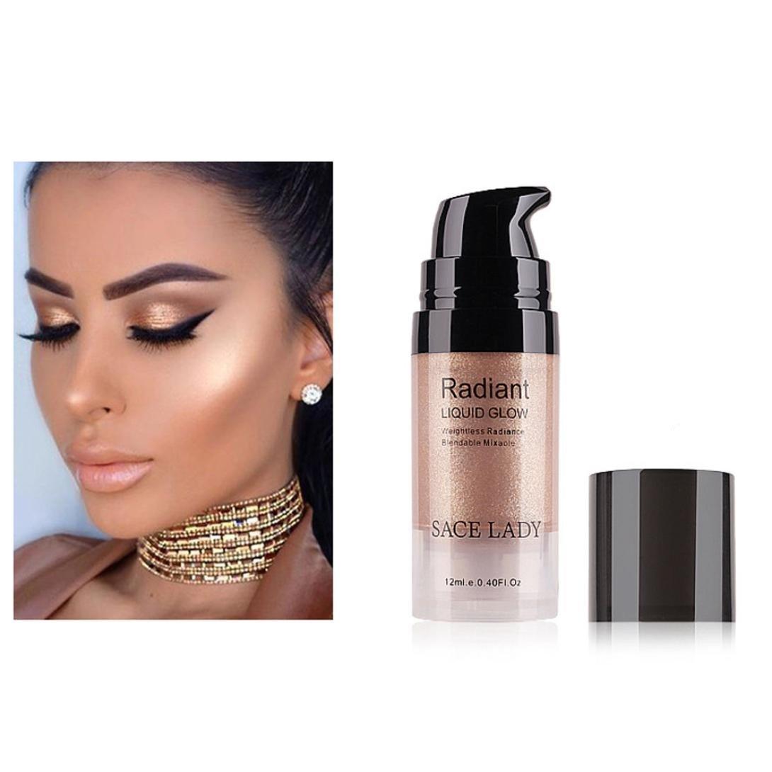 Hoshell 12ML Natural Liquid Glow Highlighter Lip Foundation Makeup Shimmer Cream Facial Bronzer Contour Cosmetic (C)