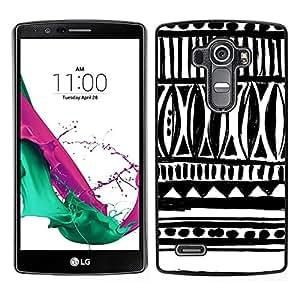 LECELL--Funda protectora / Cubierta / Piel For LG G4 -- Dibujado Arte tinta blanca Negro Chevron --