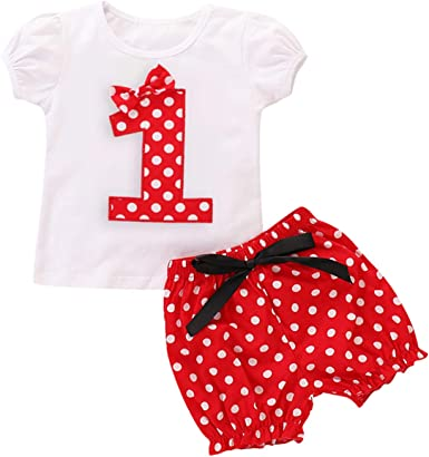 2Pcs Toddler Infant baby Girls Outfits Minnie T shirt Tops Shorts Sets Clothes