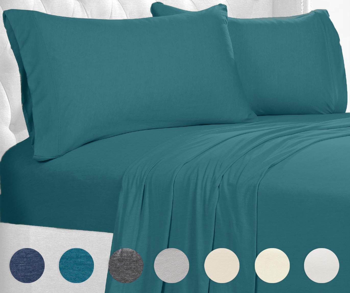 Posh Home Jersey Knit Ultra Soft Lightweight Cotton T-Shirt Comfortable Breathable Cooling Cozy Unisex All-Season Bed Sheet Set Easy Care (King, Teal)