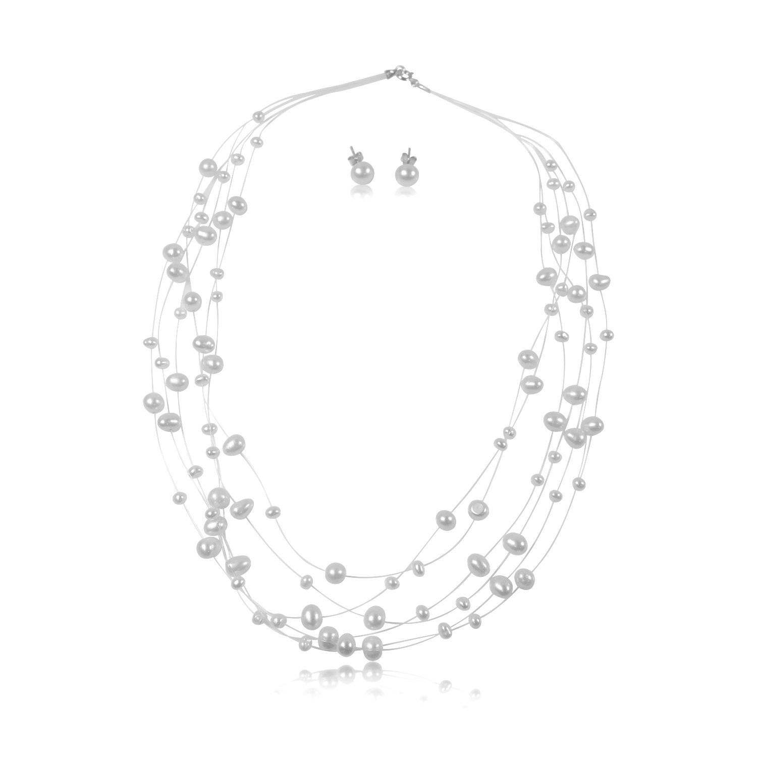Pearls N Silver Sterling Silver Cultured Bridal White Pearl Illusion Necklace Earrings 6 Strand 16'' To 18'' (6 strands 16'' - 18'' with matching earrings)