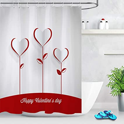 LB Holiday Theme Happy Valentines Day Shower Curtain3D Printing Heart Pattern With Leaves Make