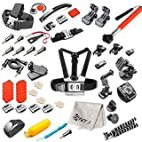 SNT Camera Accessory Kit for GoPro Hero 4 3+ 3 2 1 SJ4000 SJ5000 SJ6000 - Indludes: Suction Cup Mount - Selfie Stick - Chest Mount Harness - Floating Handle Grip - Wrist Strap Band - etc