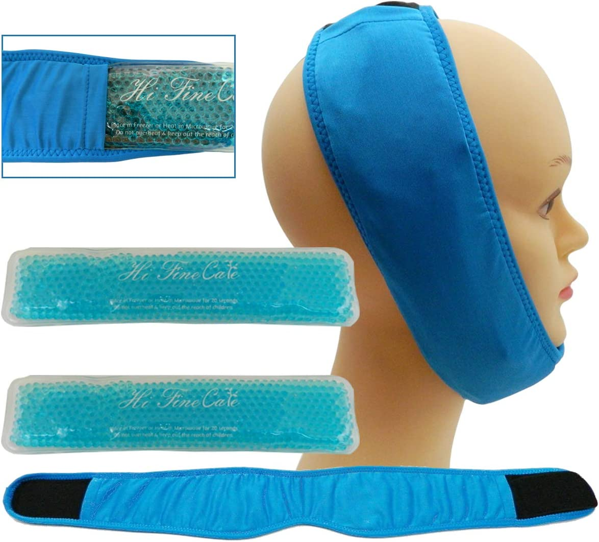 Face ice Pack for Jaw, Head and Chin, 2 Reusable Hot or Cold Gel Packs Pain Relief for TMJ, Oral and Facial Surgery, Dental Implants