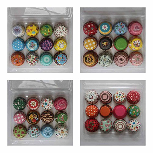 (Cupcake Liners Paper Baking Cups SophieBella Decoration for Wedding or Birthday Standard Size (Random 48 Styles 1200)
