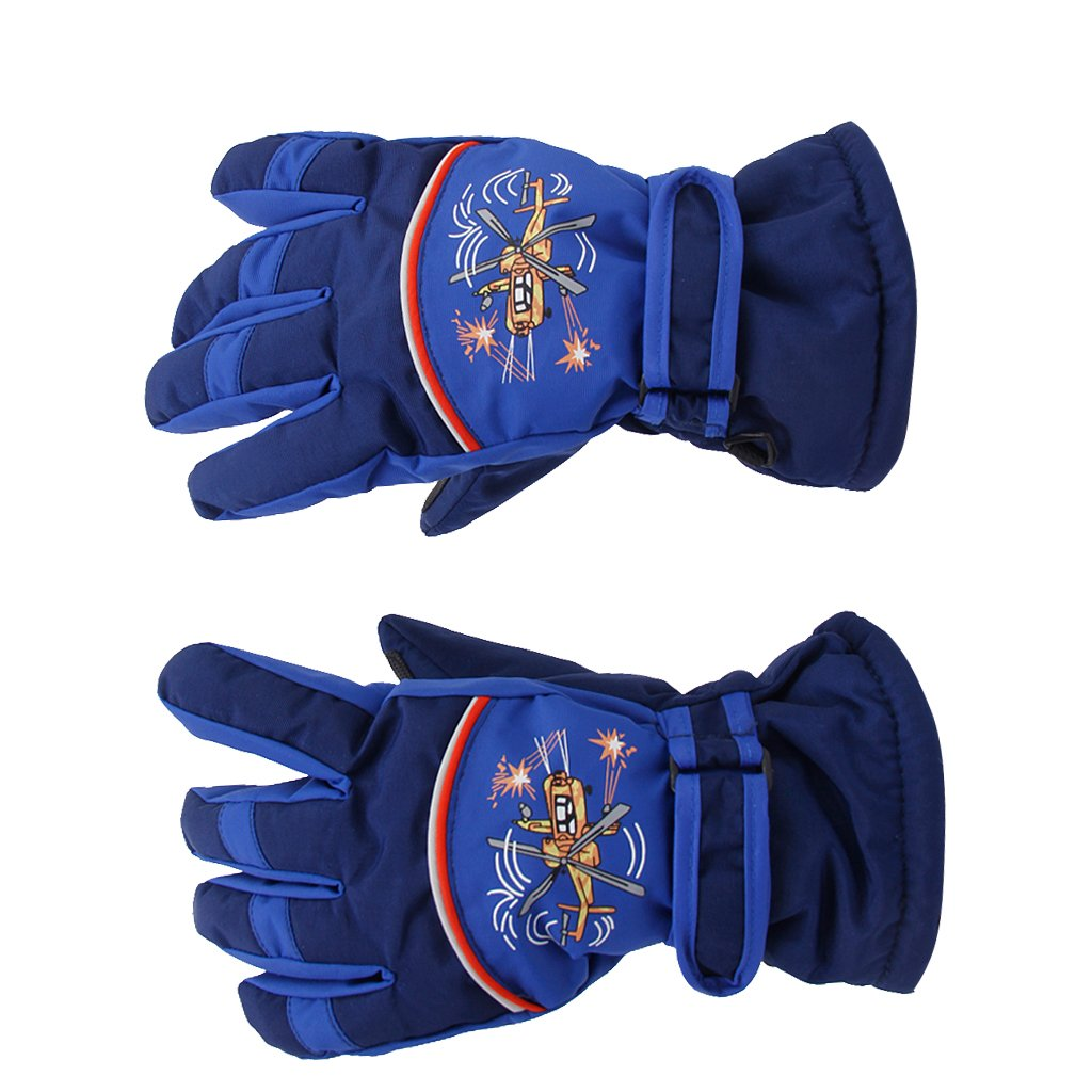 Pair Anti-slip Breathable Winter Warm 5-7 Years Children Kids Ski Skating Gloves Dark Blue Generic