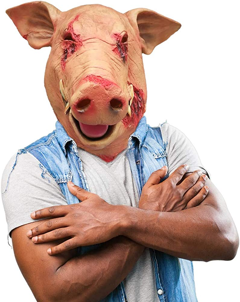 Mens Bloody Butcher Pig with Mask Animal Halloween Fancy Dress Costume Outfit