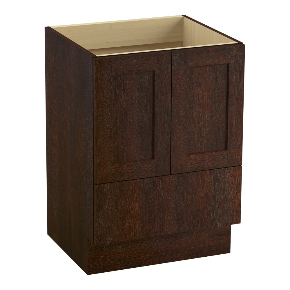 Cherry Tweed 2 Doors and 1 Drawer KOHLER 99527-TK-1WG Poplin 24-Inch Vanity with Toe Kick