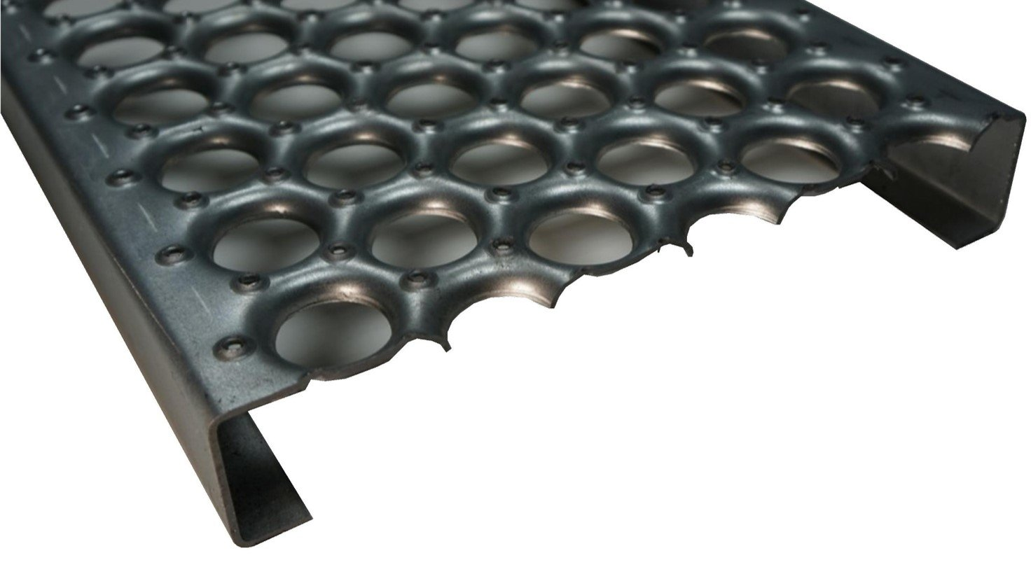 61G13122-48 Perf-O-Grip Channel 13 Gauge Pregalvanized Steel Plank Safety Grating, 48 Length x 12'' Width x 2'' Depth by Small Parts