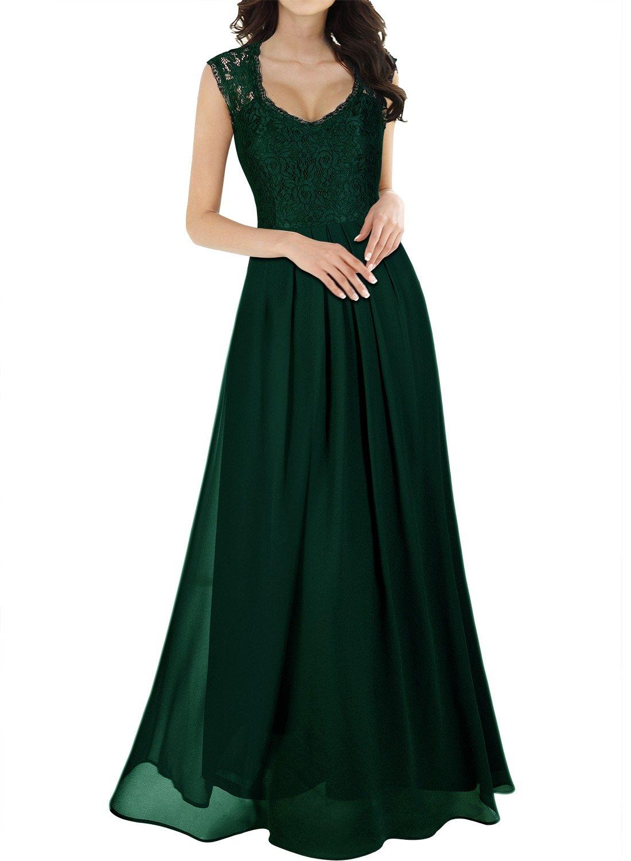 MIUSOL Women's V Neck Lace Ball Gown Long Chiffon Evening Dress 3193DE