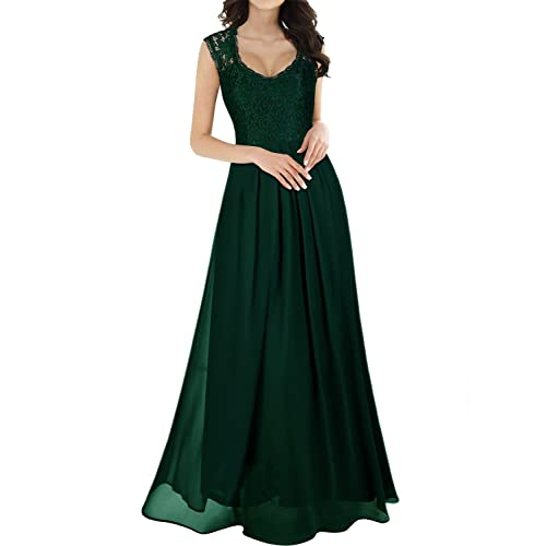 MIUSOL Womens V Neck Lace Ball Gown Long Chiffon Evening Dress