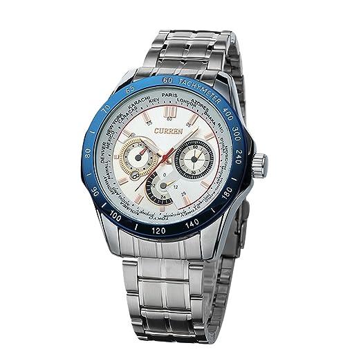 Mens Curren relojes de lujo de marca superior reloj de cuarzo de acero ejército militar deporte impermeable reloj azul: Amazon.es: Relojes