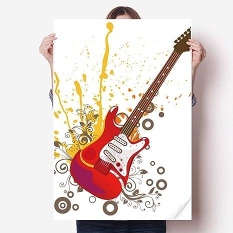 DIYthinker 80X55Cm Pared Guitarra eléctrica de la música de Jazz Cultura de Vinilo Etiqueta Cartel Mural