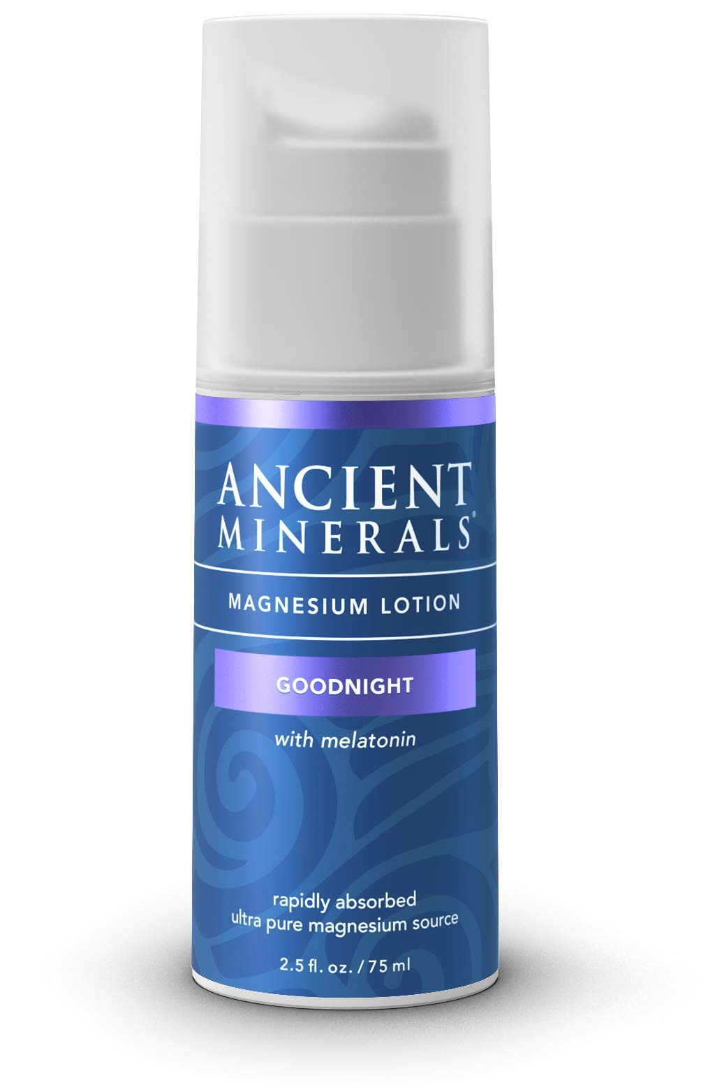 Ancient Minerals Goodnight Magnesium Lotion with Melatonin and OptiMSM - Night Cream of Topical Nighttime Moisturizing Lotion formulated for Bedtime Absorption (2.5oz) by Ancient Minerals