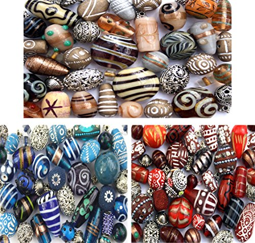 Art Glass Focal Bead - Mixed Pack of Jewelry Making Beads Handmade Indian Glass Lampwork Wood Tibetan Red Blue Beige Ivory Colors