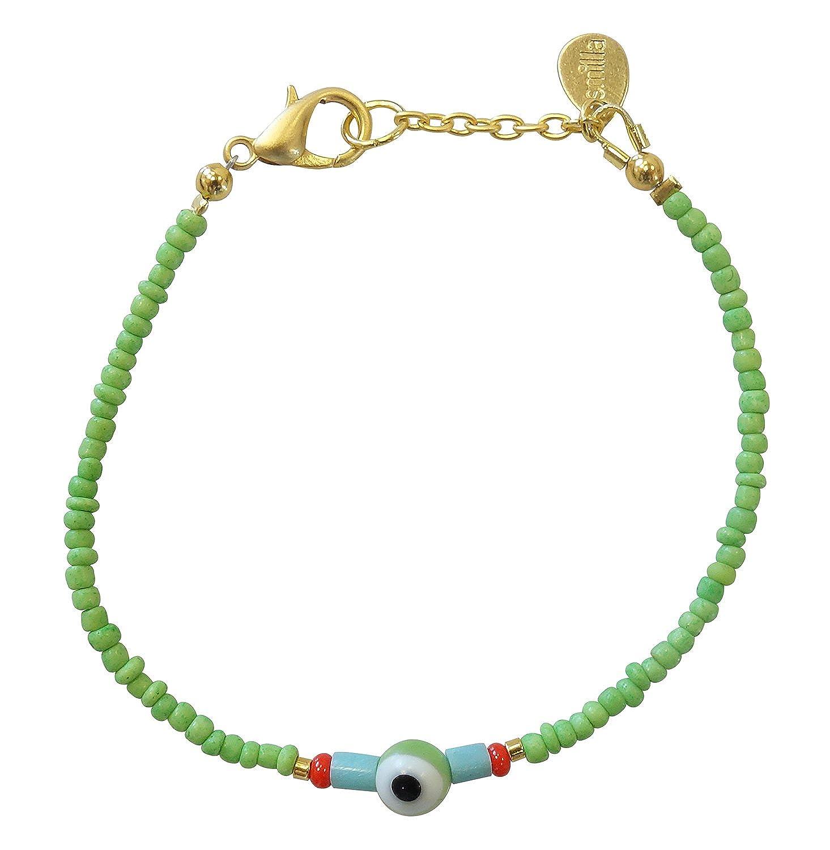 Smilla Brav Evil Eye Nazar T/ürkis Freundschaftsarmband Damen-Armband mit Glasperlen TS22