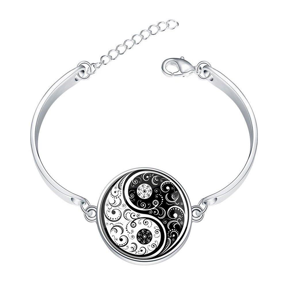 DOME-SPACE Adjustable Silver Bracelets Black White Yin YangHand Chain Link Bracelet Clear Bangle Custom Glass Cabochon Charm