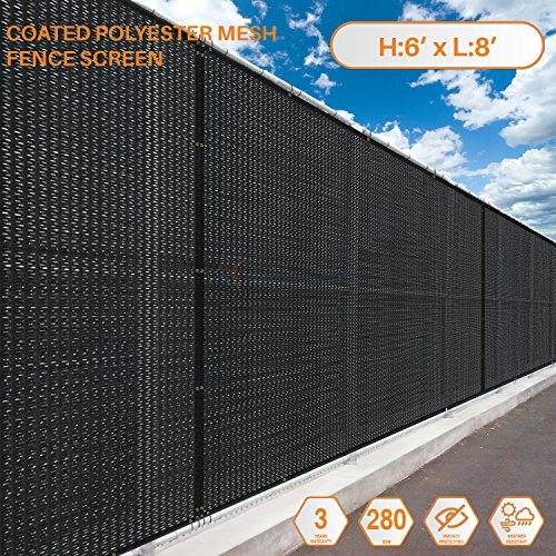 (TANG Sunshades Depot 6'x8' FT Black Breathable Vinyl Coated Polyester Mesh Screen Residential Commercial Premium Privacy Fence Screen Customize 3 Years Warranty 280 GSM 80% Blockage)