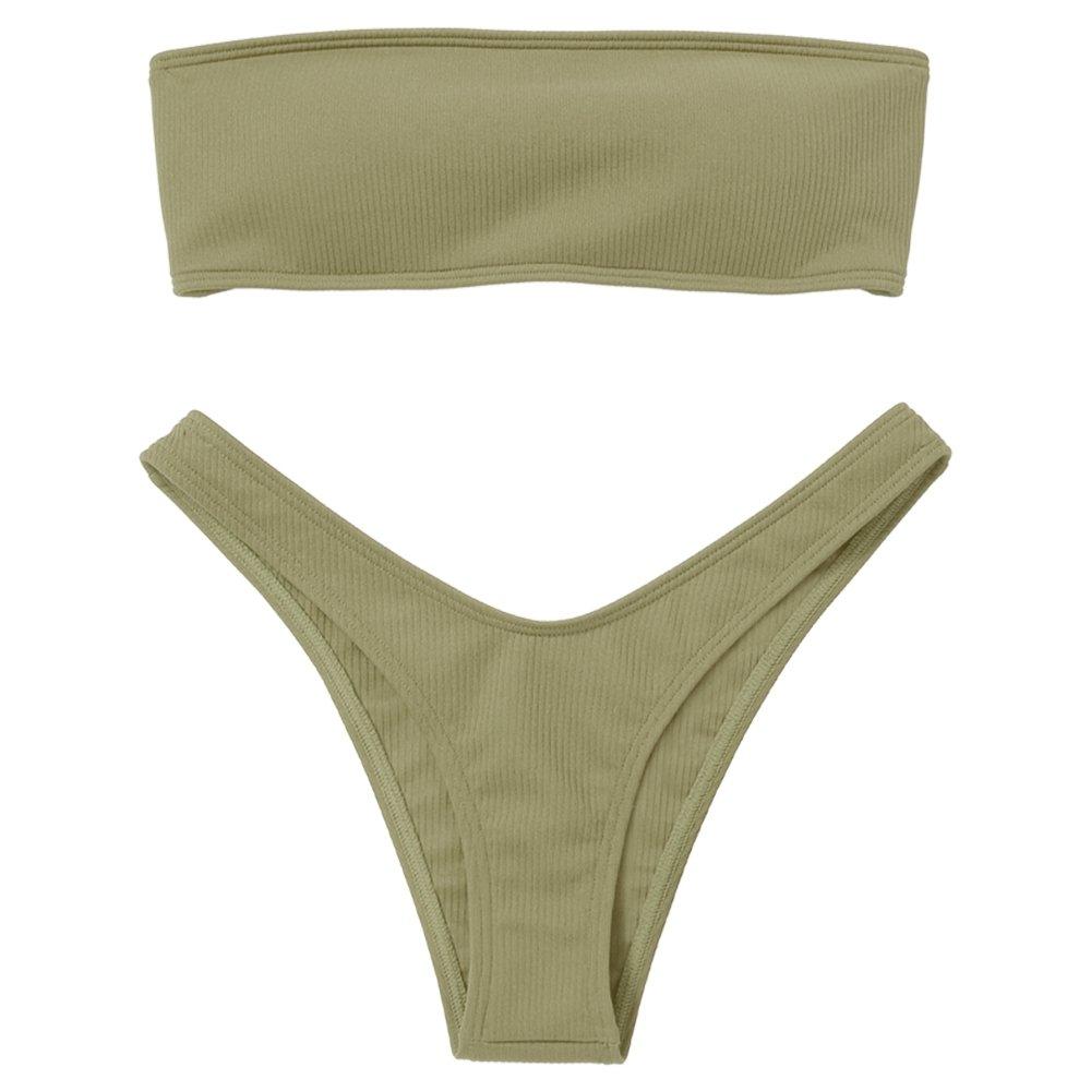 SKM Women's Two Pieces Bandeau Bikini Sets Sexy Padded Push up Bra Top High Cut V Bottom Bathing Suits Beachwear