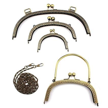 RUBY - 4 Boquillas para bolsos y 1 Cadena de hierro para correa de bolso Cierre
