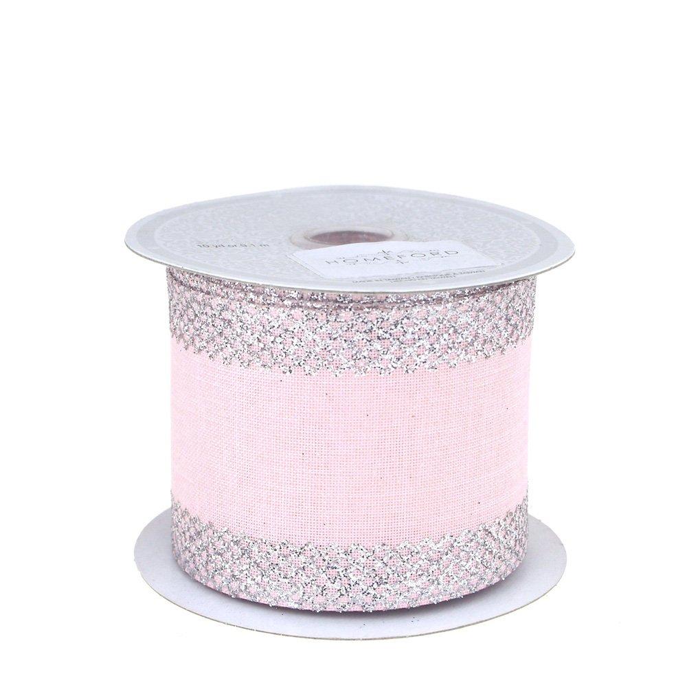 Homeford FCR00CMC2102PKSV Ribbon, 2-1/2'', Silver/Pink