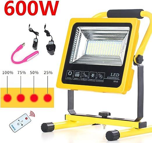 Foco Proyector LED 600W 8000 Lm, Portátiles Recargables Batería ...