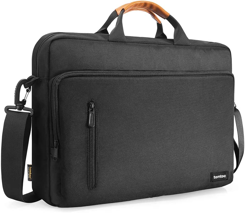 tomtoc 15.6 Inch Laptop Shoulder Bag for 16-inch New MacBook Pro, Multi-Functional Laptop Messenger Bag Briefcase for 15-inch MacBook Pro, Dell XPS 15, Surface Book 2, Ultrabooks Chromebooks Notebooks